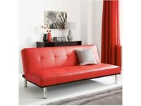 Jett Red Faux Leather Sofa Bed From Very