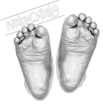 New Baby Casting Kit 3D Handprint Footprint Hand Plaster Cast Mould Silver Feet