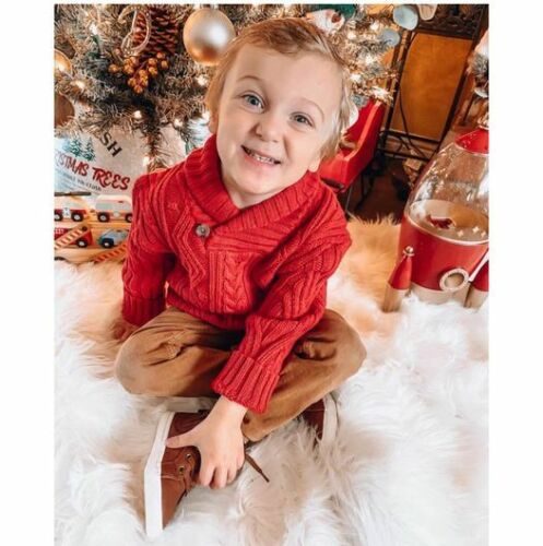 NWT Toddler Boy's Red Shaw Collar Solid Pullover Sweater Cat & Jack 4T Free Ship