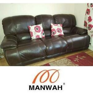 NEW* MANWAH 3 SEATER RECLINER SOFA - 124611822 - 2 RECLINERS LEATHER SOFAS FURNITURE LIVING ROOM DECOR SEATING SEATS