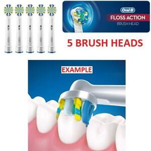 NEW ORAL-B BRUSH HEADS 5PK 246892110 FLOSSACTION ELECTRIC TOOTHBRUSH REPLACEMENT BRUSH HEADS PACK OF 5