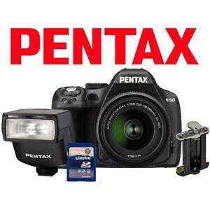 NEW OB PENTAX K-50 DSLR CAMERA KIT K-50 139514445 16MP 18-55MM LENS AF200 FLASH BATTERY HOLDER 8GB SD CARD DIGITAL BLACK