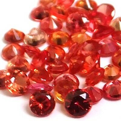 NATURAL ROUND-CUT ORANGE RED SAPPHIRE CEYLON LOOSE GEMSTONES 5 pieces 2 x 2 mm (5 Piece Transparent Cherry)