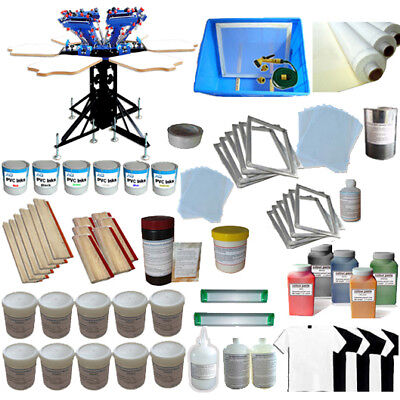 6 Color Screen Printing Kit Micro-adjust Silk Screen Press Ink Supply Tools