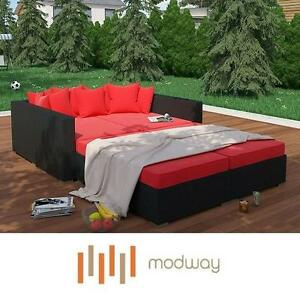 NEW MODWAY PALISADES DAYBED SET - 124883174 - 4 PIECE WICKER ESPRESSO RED CUSHONS OUTDOOR LIVING DAYBEDS SEATING SEAT...