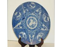"""Chinese 1800s Blue & white 8 1/4"""" Plate with Five Pointed Star Pattern"""