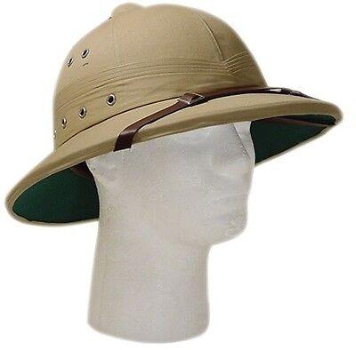 Vintage U.S. Style Pith Safari Jungle Helmet Khaki Tan Deluxe Explorer Hat!