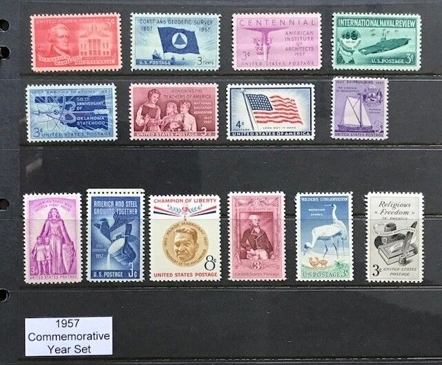 1957 US Commemorative Year Set (Complete) #1086-1099, MNH  FREE SHIPPING