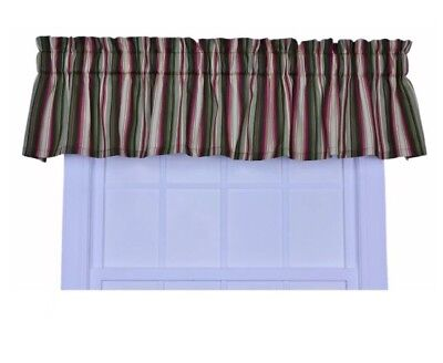 Green Tailored Valance - Ellis Curtain Montego Stripe Tailored Valance Window Curtain, Green 85x12""