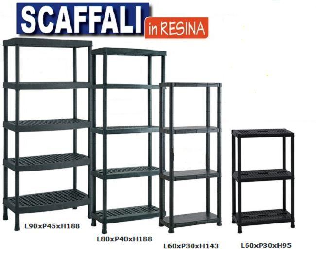 Scaffale In Plastica Kit Scaffali Scaffalatura Ripiani Porta Oggetti Ripostiglio