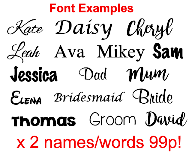 Home Decoration - X2 Personalised Vinyl Name Sticker Decal for gifts, crafts glass wedding baubles