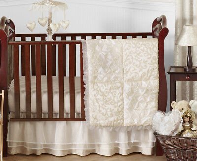 Unique Upscale Luxury High End Couture Bumperless Baby Girl Bedding Crib Set ()