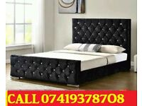 Double Crush Velvet Chesterfield Divan Bed With Semi Orthopaedic Mattress