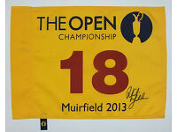 Phil Mickelson signed Open Championship 2013 Muirfield pin flag plus COA.