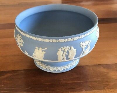 Signed Wedgwood Blue Jasperware Pedestal Fruit Bowl 8""