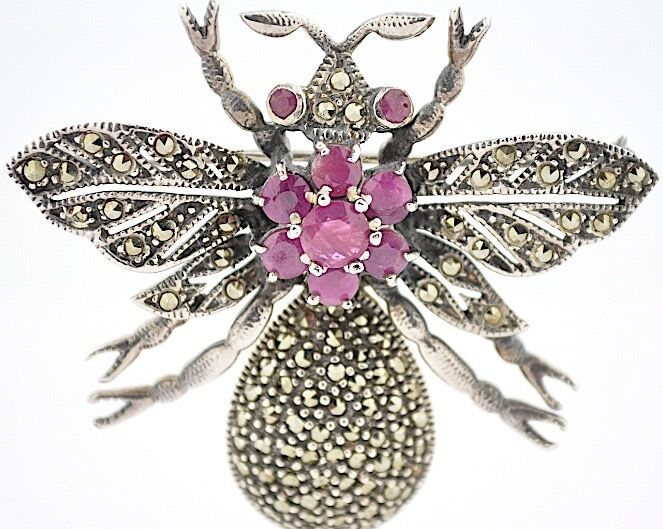 Antique Sterling Silver Marcasite Ruby Articulated Insect Brooch France