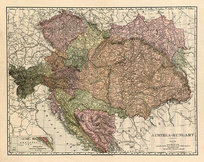 Map of Austria-Hungary c1906 30x24