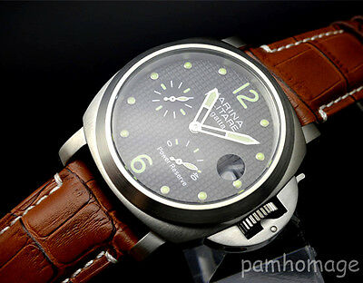 Parnis 44mm Military stainless steel power reserve automatic men