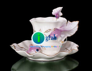 Elegant design hand painted porcelain cup saucer set tea coffee mug new Vintage