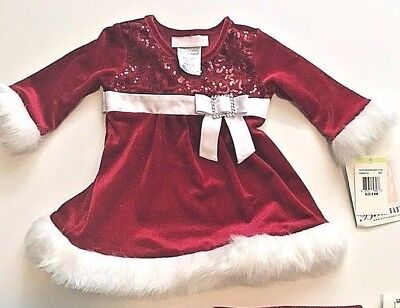 Bonnie Baby Girls 3 6 Months Old Christmas  Holiday Dress New