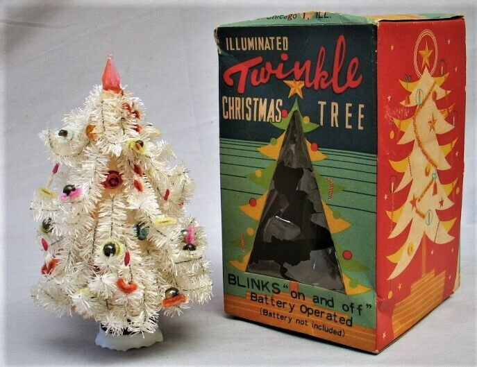 Vintage Mini White Christmas Tree in Box