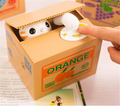 White Cat  Automated Stealing Coin Money Animal Piggy Bank Storage Saving Box
