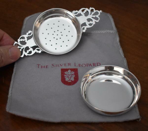 THE SILVER LEOPARD DALLAS BELFIORE FIRENZE STERLING SILVER 2-PIECE TEA STRAINER