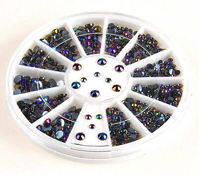 3D Nail Art Tips gems 300pcs Crystal Glitter Rhinestone DIY Decoration + Wheel