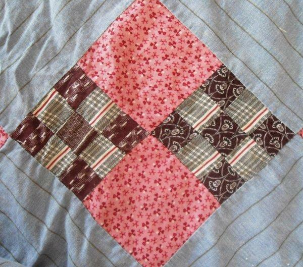 Antique Patchwork Quilt Top Hand Stitched Pink Brown Blue Feedsacks Full