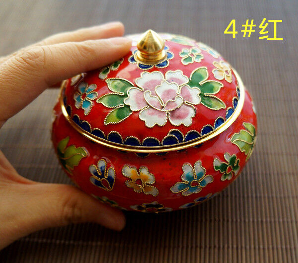 Superb Old Decora Tion Brass & Enamel Cloisonne Storage Pot & Circular Base zz