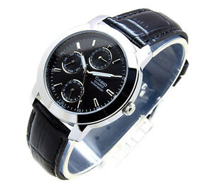 NEW-Casio-MTP-1192E-1A-Day-Date-Analog-Quartz-Black-Leather-classic-Mens-Watch