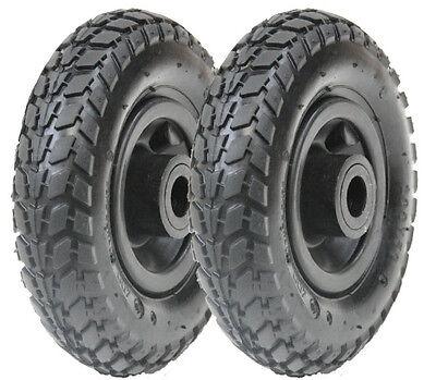 """pair 2 x 8"""" 200x50mm pumped pneumatic wheel, roller bearings, hand truck, cart,"""