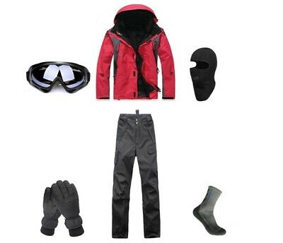 E05 Men Ski Snowboard Jacket Pants Gloves Goggles Balaclava Socks S M L XL XXL ()