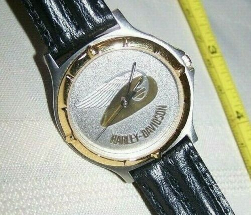 Harley Davidson Montreux Swiss Mens Leather Wrist Watch Wing Tank Winged Nice 1