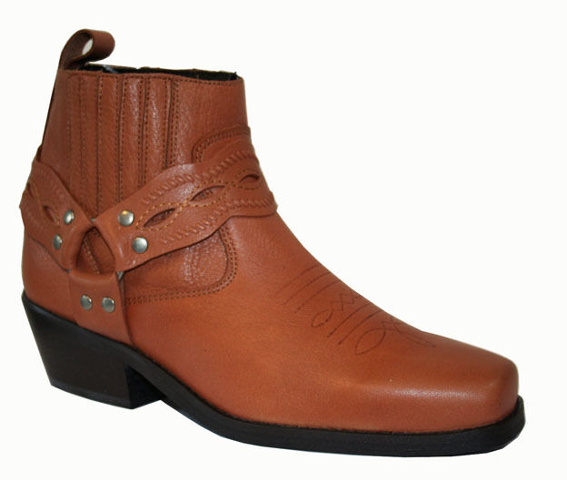 Mens Genuine Tan Leather Ankle Harness Boots - Western Biker Cowboy