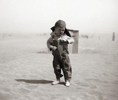 1936 Oklahoma DUST BOWL PHOTO Great Depression Farm Boy, DUST STORM, Farmers