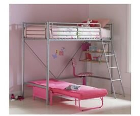 Metal High Sleeper Single Bed with Pink Futon Chair Bed