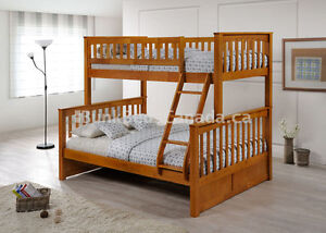 Single/Double Hardwood Bunk Bed in Honey Color- by Bunk Beds Can