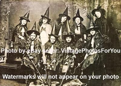 Old/Vintage 1800-1900s 9 Young School Witches Odd/Creepy/Weird Halloween Photo - Creepy Halloween 1900