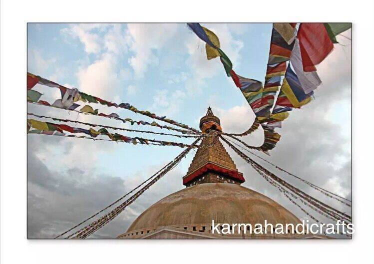 "Large10 Tibetan Buddhist Prayer Flag  9"" * 8.5""  Om Wind Horse Fairtrade Nepal 1"