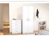2 Door White Reflect Wardrobe