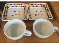 Pampered Chef Cappucino Mugs and Plates