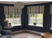 4 Laura Ashley roman blinds and a pair of curtain.