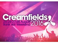 Creamfields 3 day weekend camping ticket!