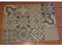 Blue and cream coloured patchwork ceramic wall/floor tiles - 3.5 sqm