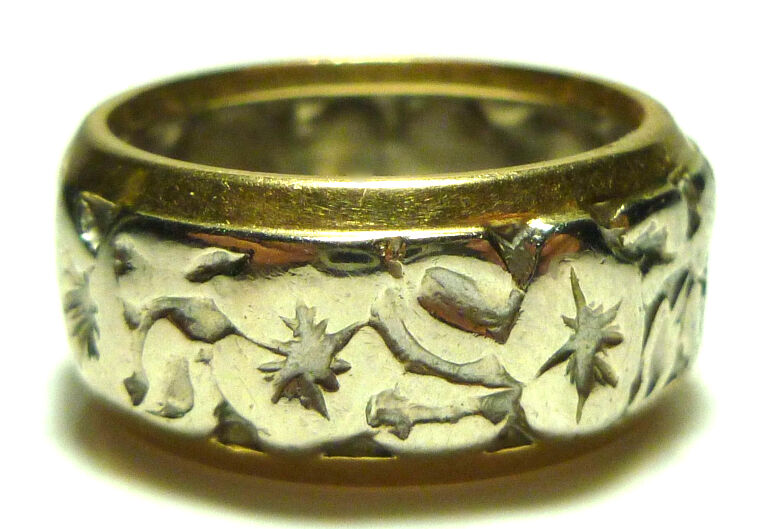 ART NOUVEAU DECO TWO TONE 14K GOLD FLORAL FLOWER ETERNITY STACKABLE RING BAND