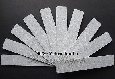 (10pcs) Zebra Jumbo Nail Files 80/80 Grit Square 7x1 Acrylic Sanding Nail (Zebra File)