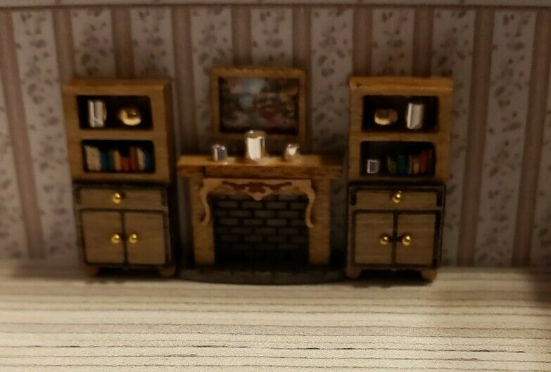 Dollhouse Miniature 1:144 Scale Wall Unit Bookcases w Books Fireplace & Painting