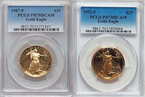 1987 1992 GOLD EAGLE PCGS PR70 $25 2 COIN SET 1 Oz GOLD