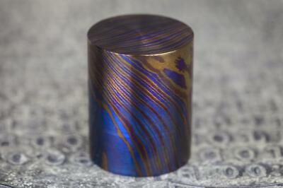 Titanium Damascus 3 Alloy Round Piece - Length 1 25mm Diameter 30mm